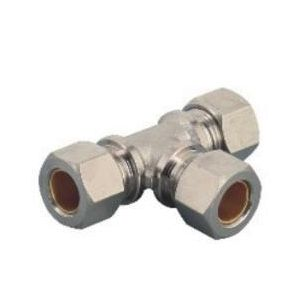MTPE Union Tee Nikel Plated Brass Compression Fittings/Union Tee Compressed Air Coupler/Metal Union Tee Compression Tube Fitting